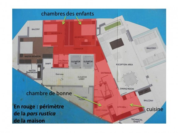 Beyrouth, Sodeco Square: plan des appartements du gratte-ciel en construction. En rouge: la pars fructuaria (les espaces de travail), qui ne se distingue pas de la pars rustica (les espaces habités par le personnel de service). (Cliché et élaboration graphique JSB)