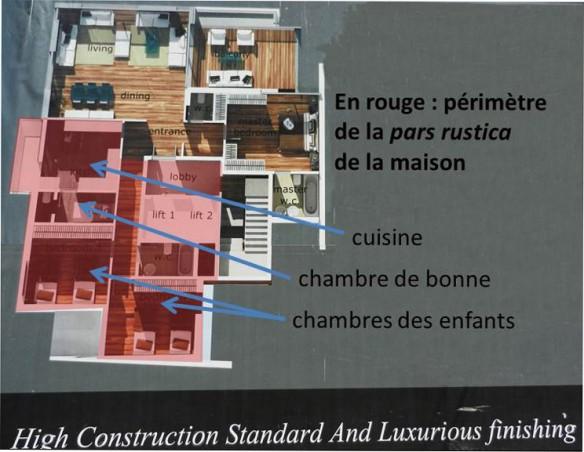 Beyrouth, Achrafieh: plan des appartements d'un immeuble en construction. En rouge: la pars fructuaria (les espaces de travail), qui ne se distingue pas de la pars rustica (les espaces habités par le personnel de service). (Cliché et élaboration graphique JSB)