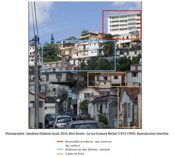 Figure 2 : Les strates urbaines successives,  à travers l'exemple des traces architecturales au quartier Rive Droite